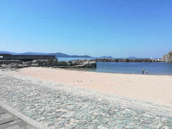 砂浜に隣接する漁港